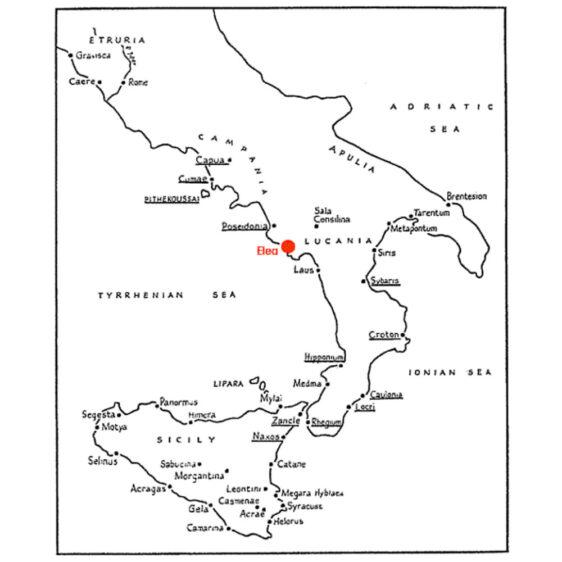 Elea Okulu'nun bulunduğu bölgesi gösteren harita.