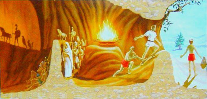 Platon'un mağara alegorisi, onun felsefesinin temel özeti olarak kabul edilebilir.