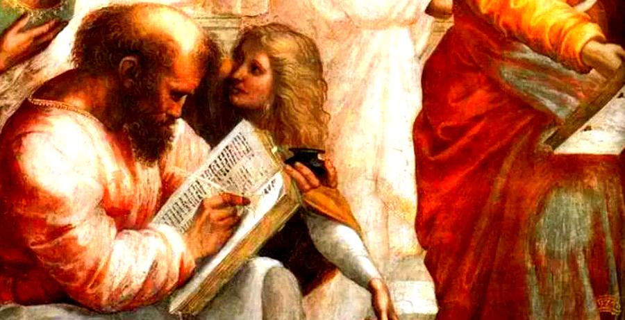"""Raphael'in çizdiği """"The School of Athens"""" isimli tabloda Pisagor, işlem yaparken gösterilmiştir."""