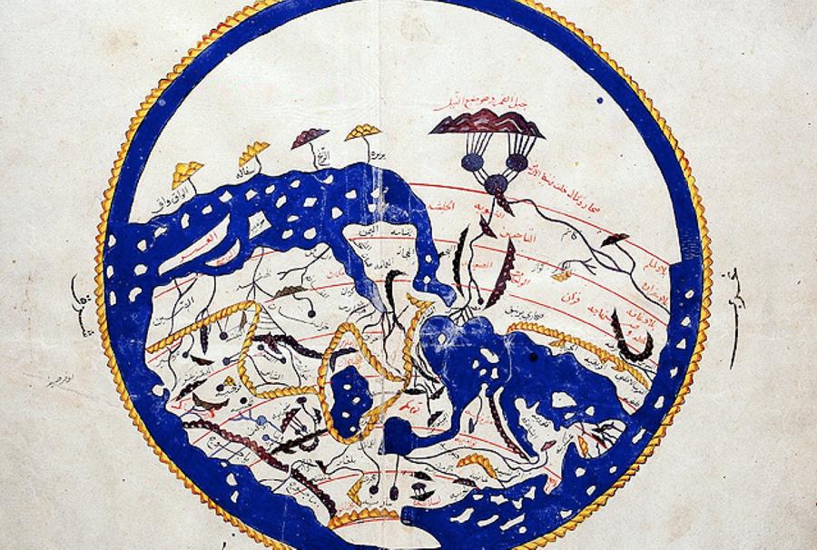 İdrîsî'nin Dünya haritası Bugün kullanılan haritalardan farklı olarak Müslüman bilginler tarafından hazırlanan haritalarda güney haritanın yukarısında, kuzey ise haritanın aşağısında gösteriliyordu. İslam'ın kutsal şehri Mekke ise haritanın merkezinde yer alıyordu.